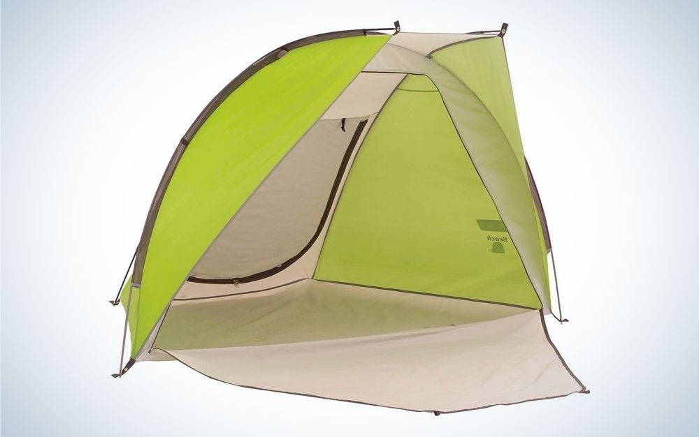 Green and beige beach tent