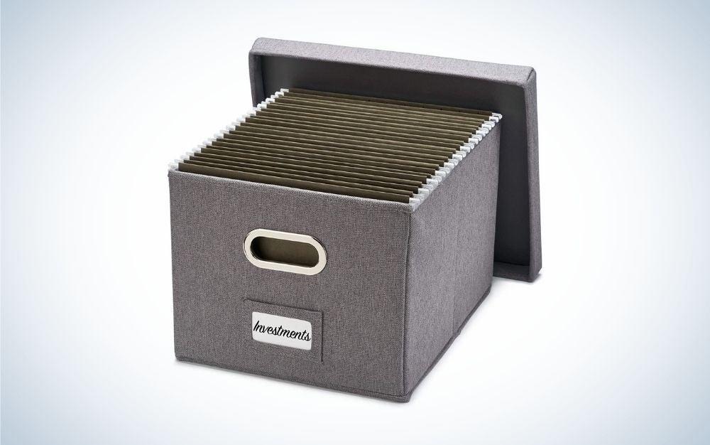 Dark grey rectangular file cabinet