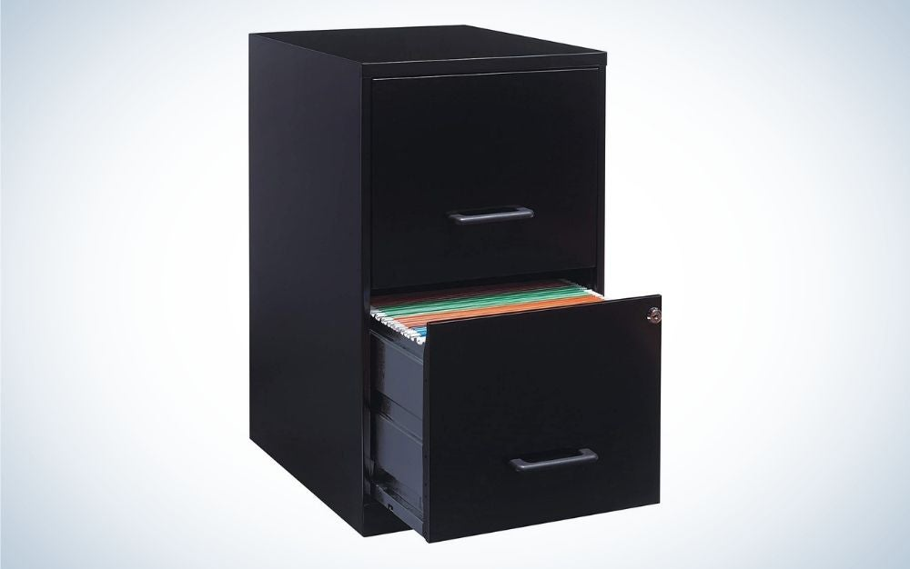 Black metal file cabinet with two drawers