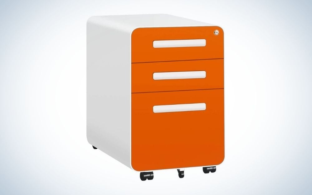 Orange and white locking file cabinet with three drawers and wheels