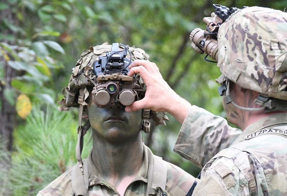 Two Army service members in camo testing night vision goggles