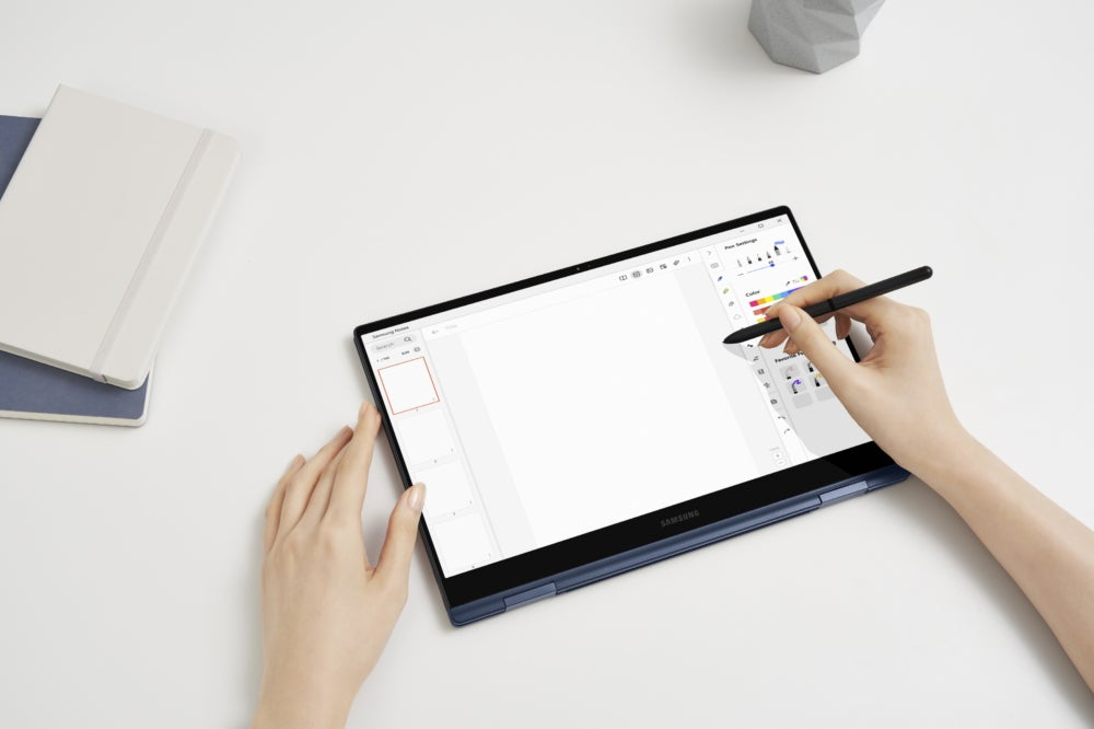 The Galaxy Book Pro 360 in tablet form