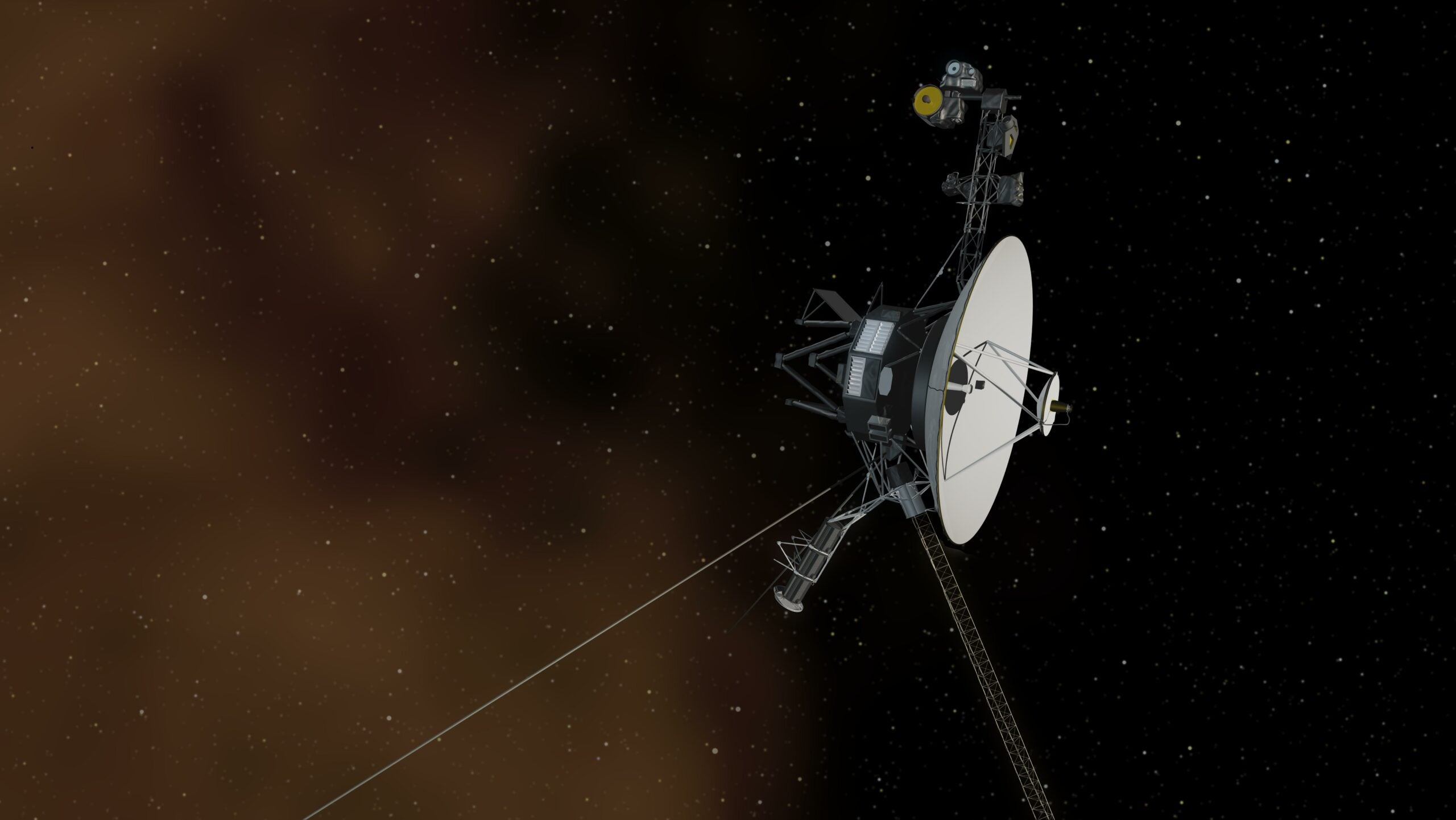 An artist's illustration depicting Voyager 1 in interstellar space