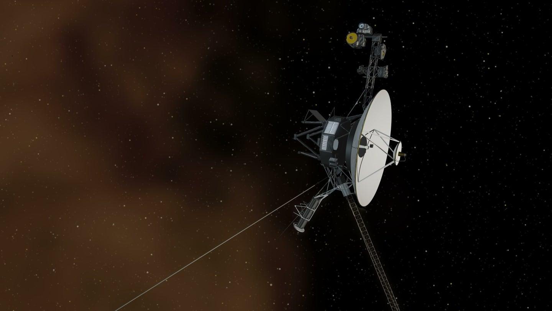 An artist's illustration depicting Voyager 1 in interstellar space