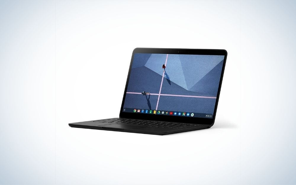 A black laptop with a light blue screen.
