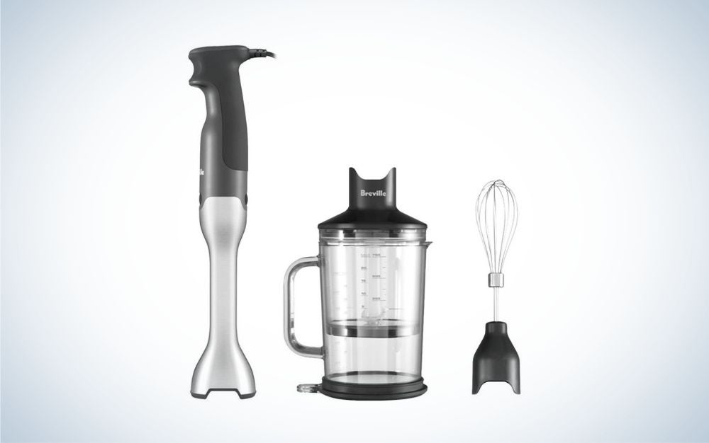 Black blender jug, blending lid, stainless steel hand blender foot, and whisk