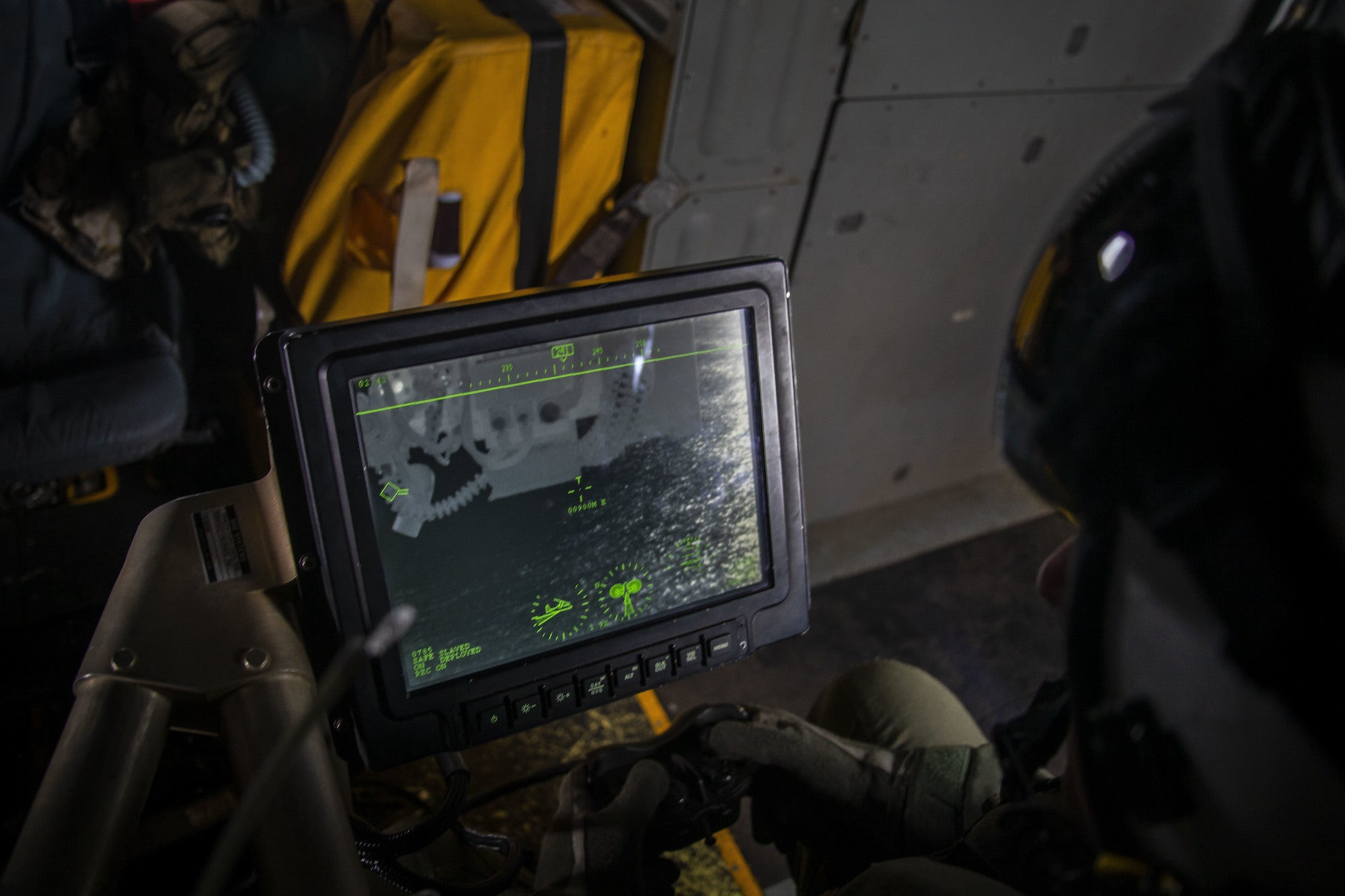 A defensive weapons system station inside a US aircraft.