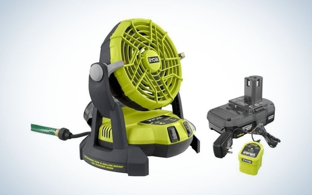 Yellow and black battery powered outdoor misting fan