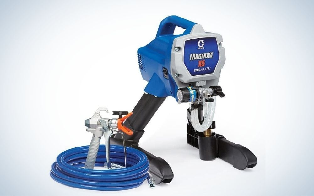 Blue, airless paint spray gun