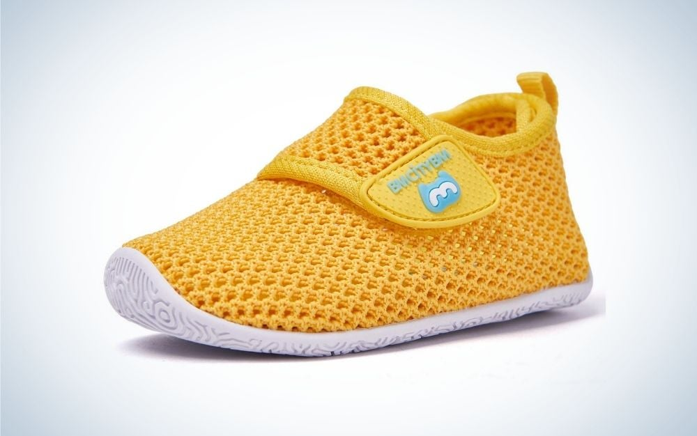 Light weighted yellow baby water shoes