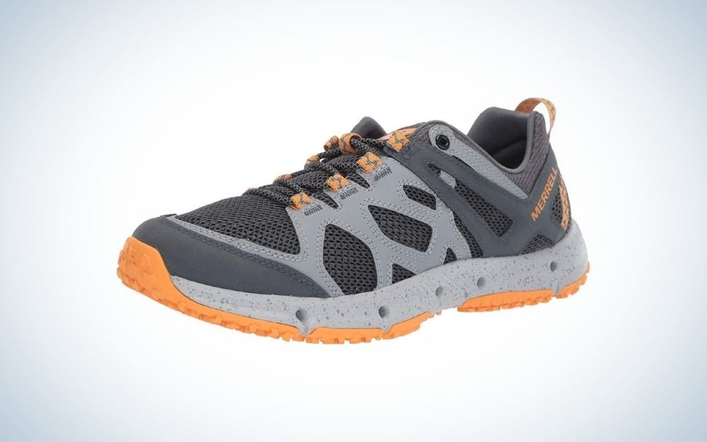Orange and gray hiking water shoes