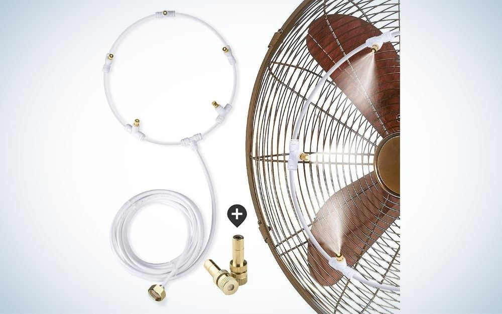 White and brown outdoor patio fan