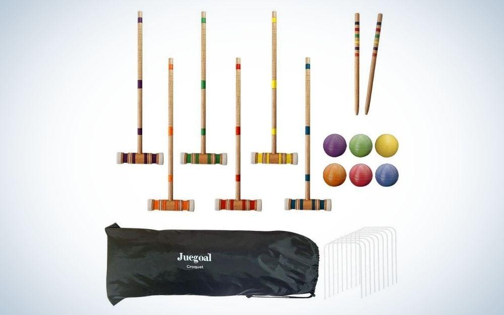 Croquet set with drawstring bag backyard game
