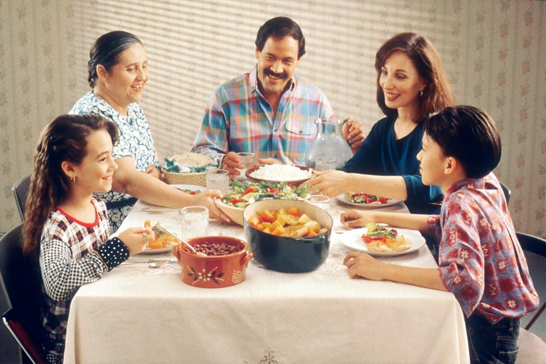 Latinx family around dinner table
