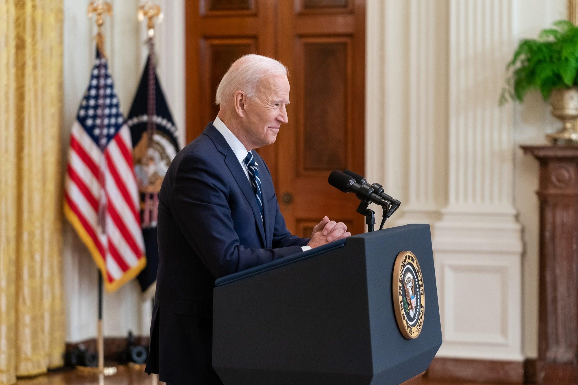 President Joe Biden at a White House podium