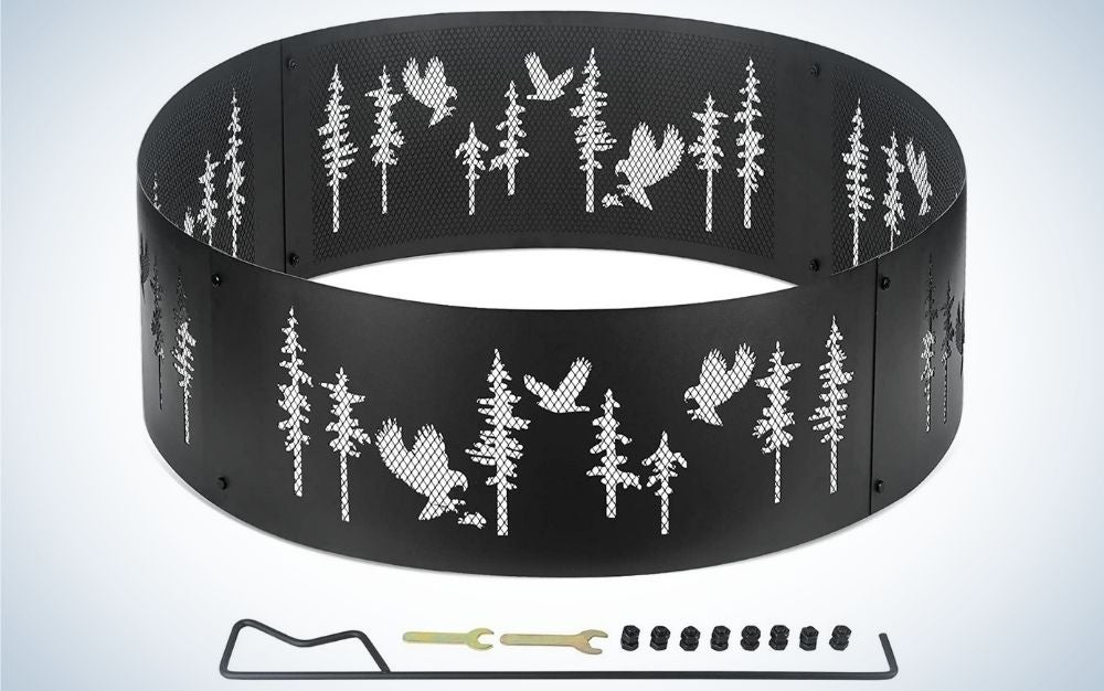 Black eagle outdoor fire ring and fire pit