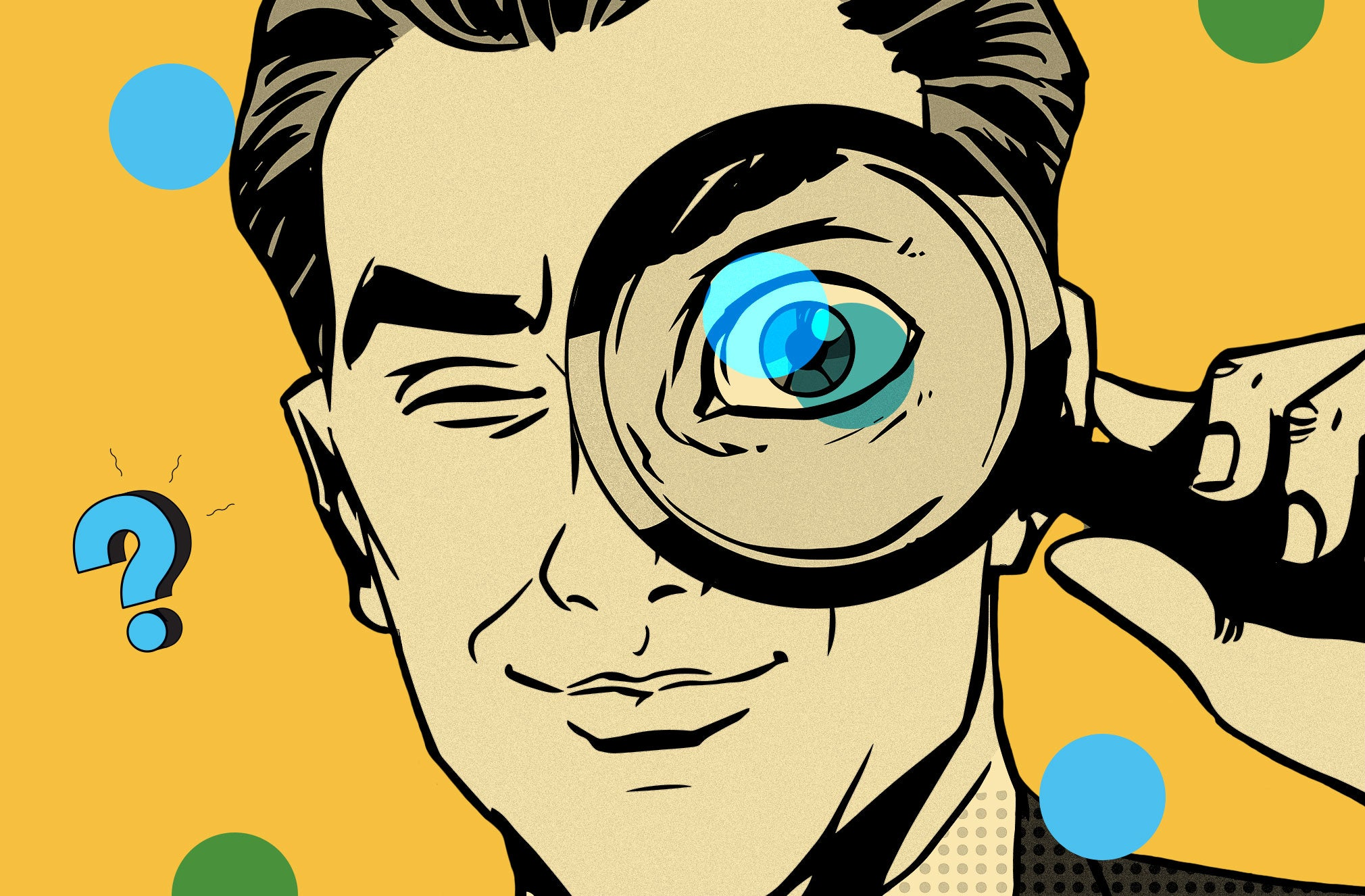an illustrated man with a magnifying glass held up to his eye