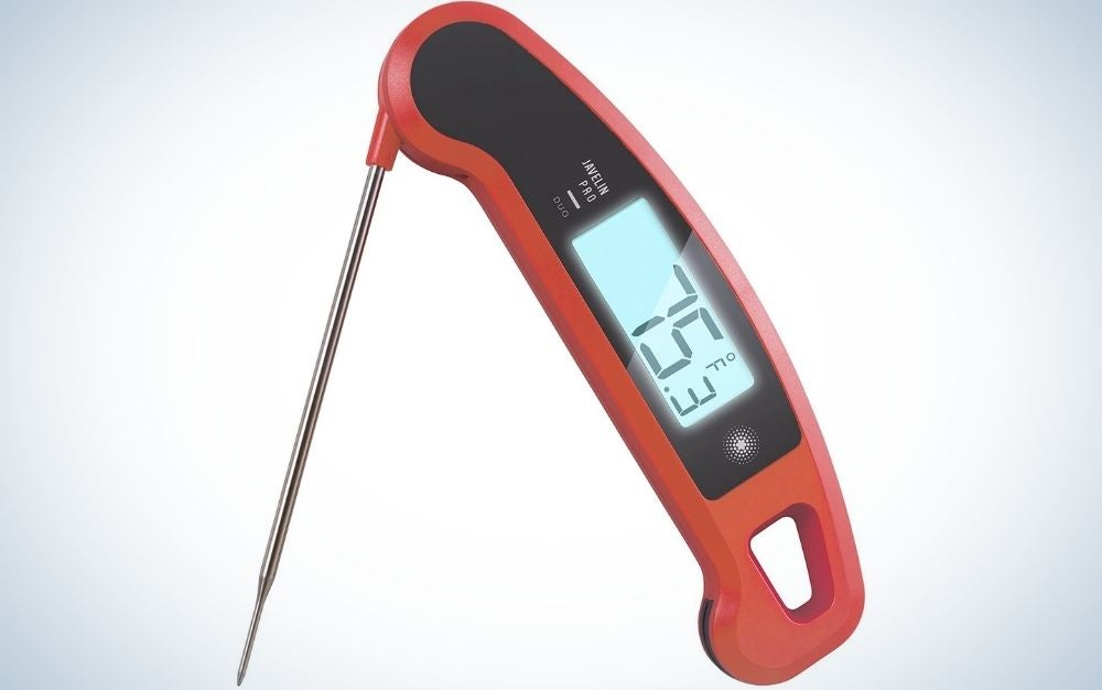 Chipotle Professional Digital Instant Read Meat Thermometer with black and blue colored menu from top.