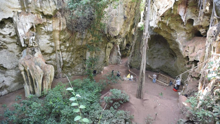 The Panga ya Saidi cave, where the oldest African burial remains were discovered.