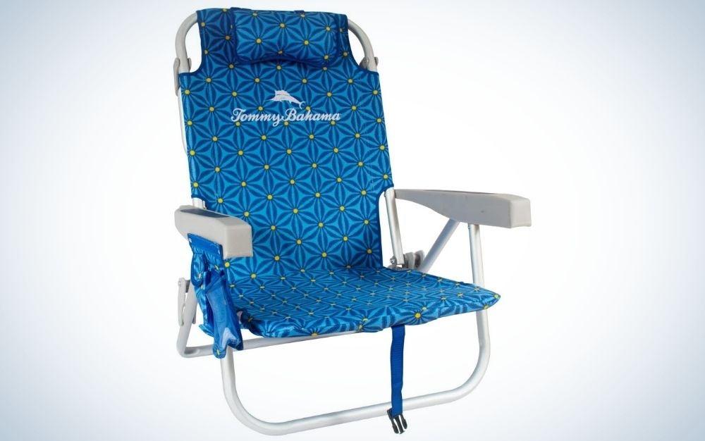 Blue floral backpack beach chair