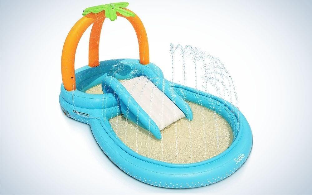 Blue, orange, and green backyard splash pad