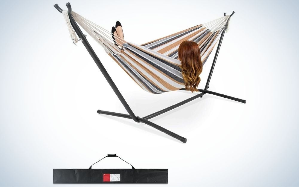 Desert stripes beach hammock with steel stand and carrying bad