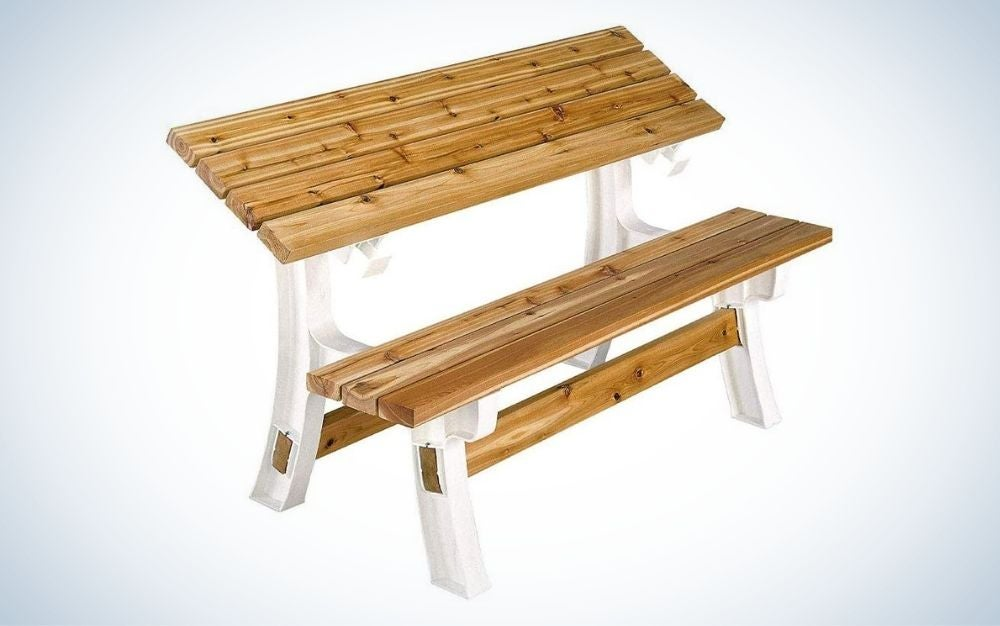 Rectangular, wood folding picnic table with bench