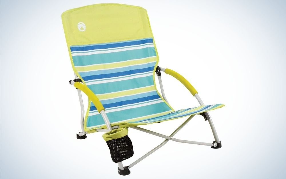 Yellow light weighted beach and camping chair