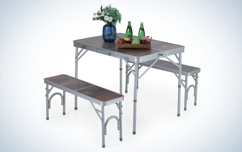 Metal folding picnic table with double handle and bench set