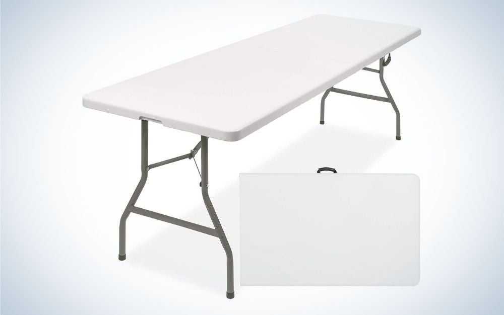 Rectangular, white folding picnic table without bench