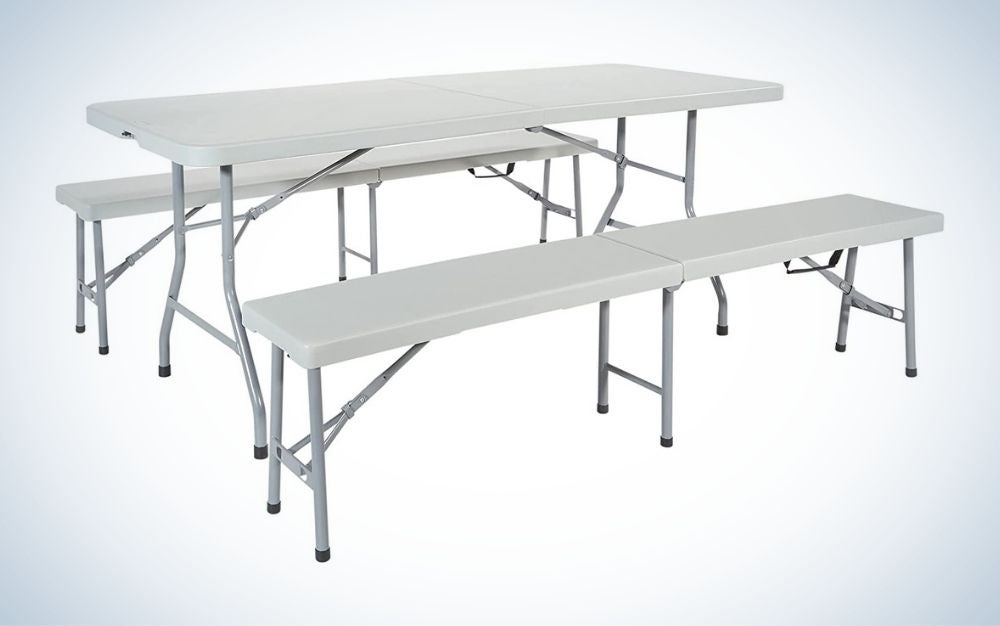 Rectangular, white folding picnic table with benches set