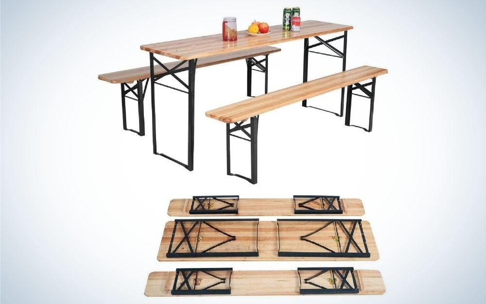 Rectangular, wood folding picnic table with steel frame