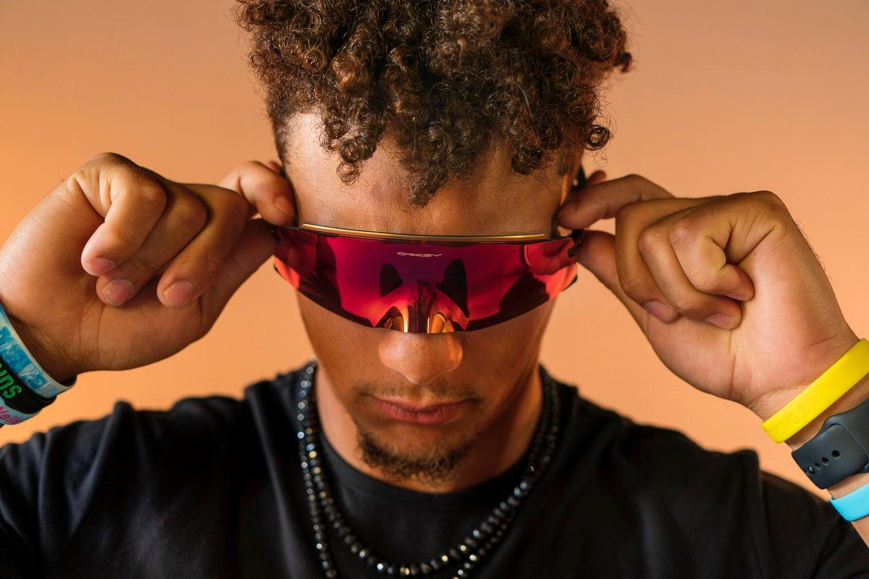 Patrick Mahomes wearing the new Oakley Kato sunglasses