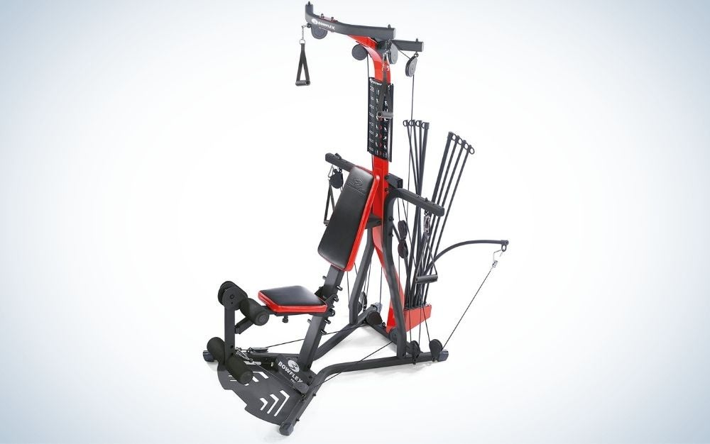 Red and black home gym equipment for different exercises