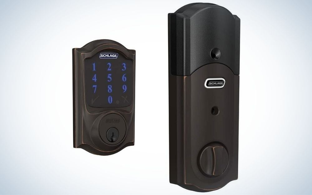 Rectangular, black smart lock with touch keypad using to control the lock