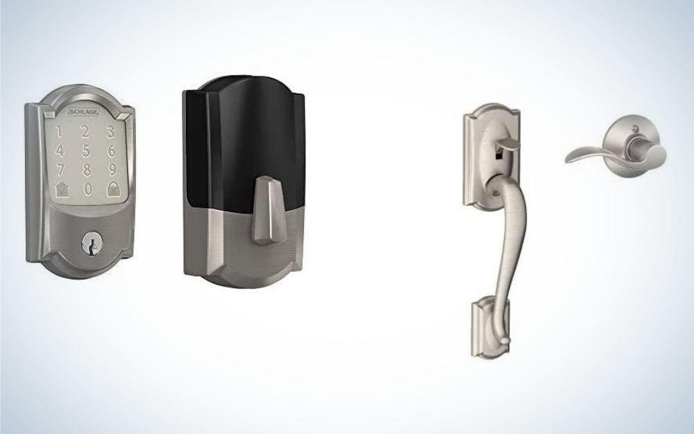 Rectangular, satin nickel smart lock and door handle