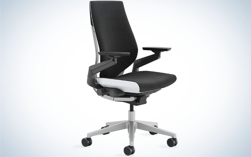 A black office chair with black sliding wheels.