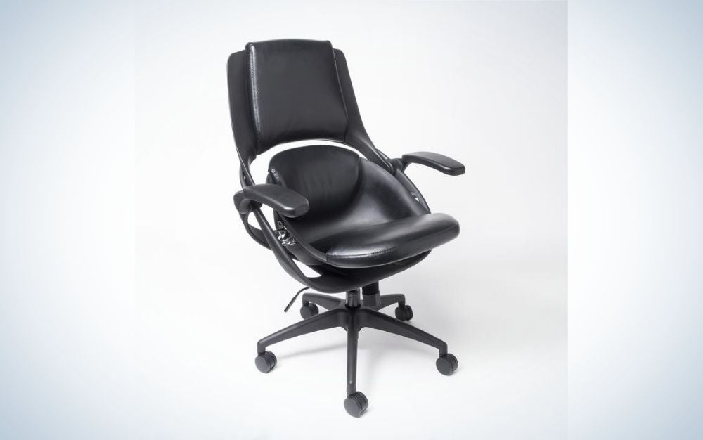 A black office chair with black sliding wheels and a chair support one smaller and one higher to fit well in it.