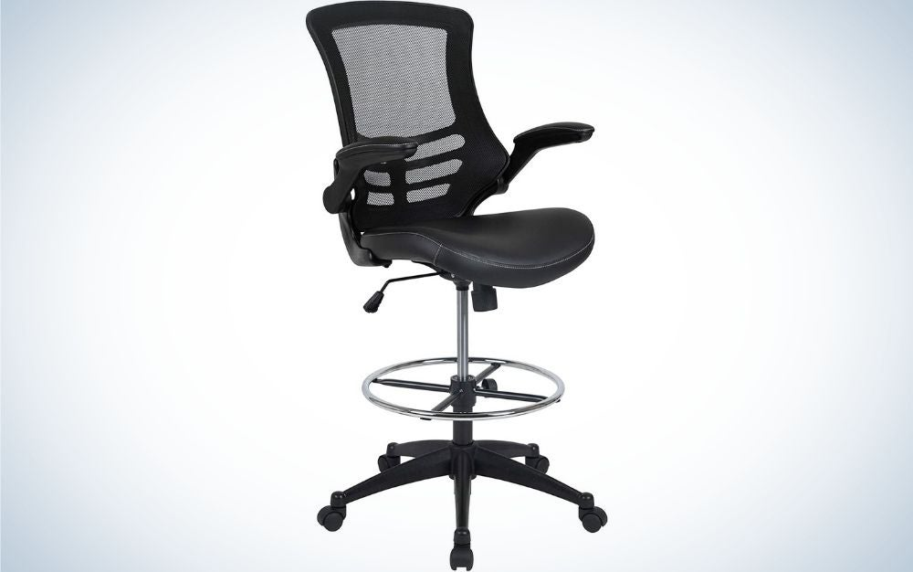 A black office chair with black sliding wheels and translucent chair support as well as a silver sphere under the seat to place your feet on.