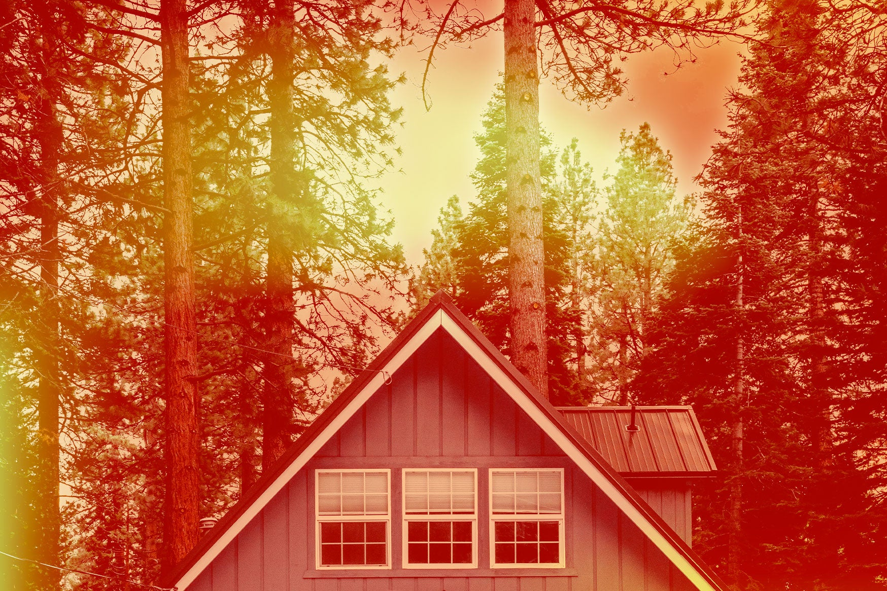 Roof of a house surrounded by trees with a red and orange color overlay.