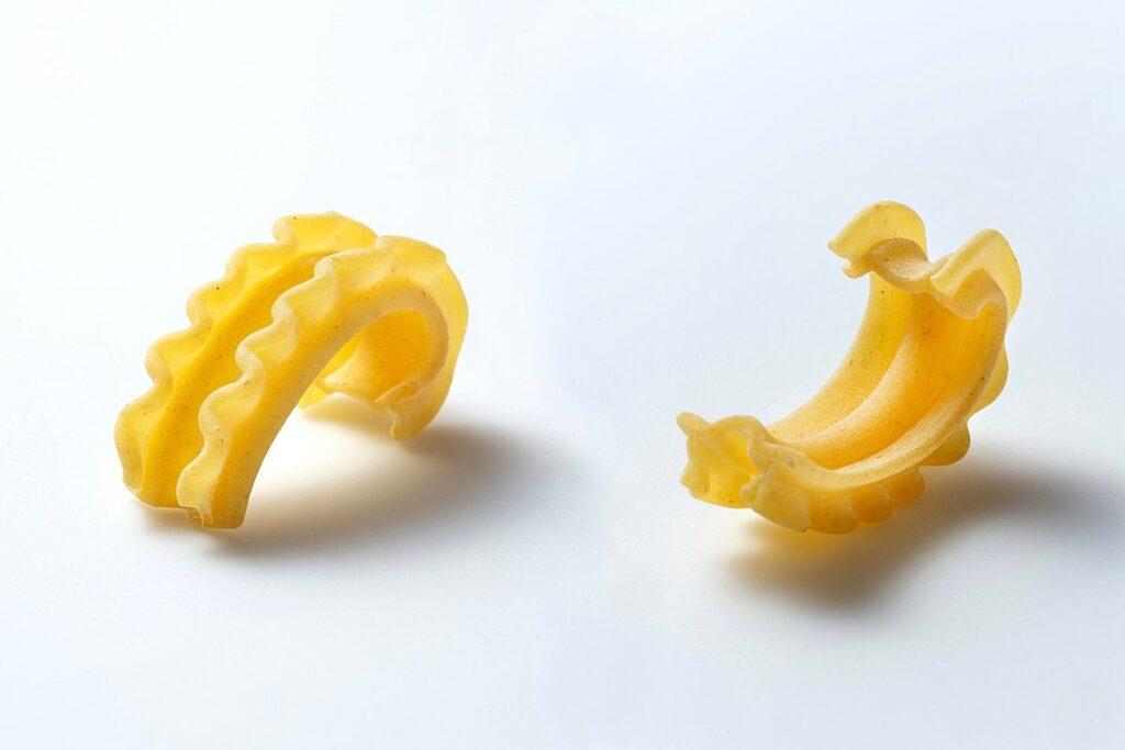 Cascatelli pastas on a white background
