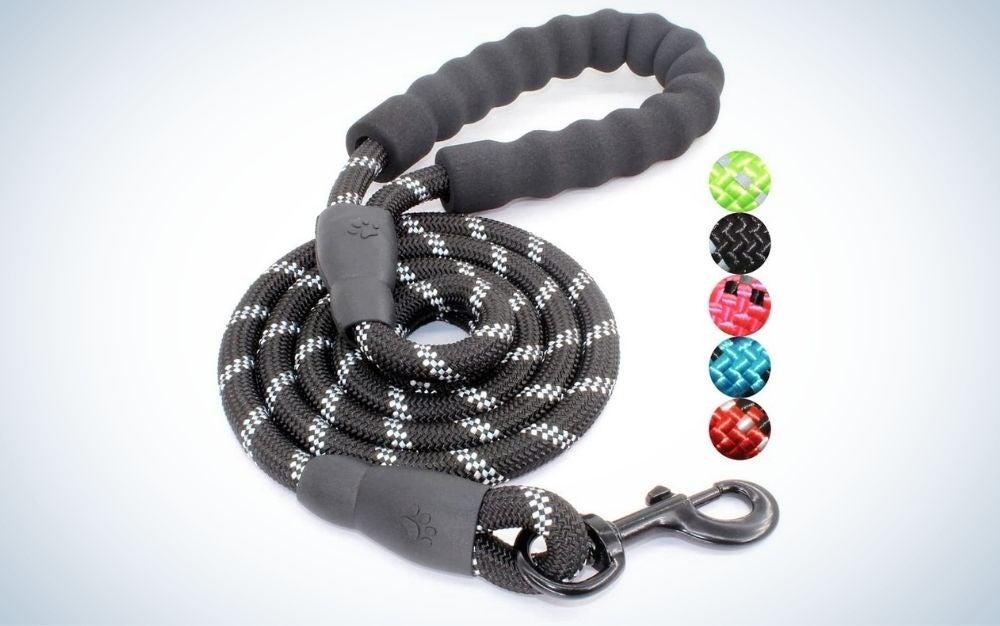 Dark grey dog leash with padded handle