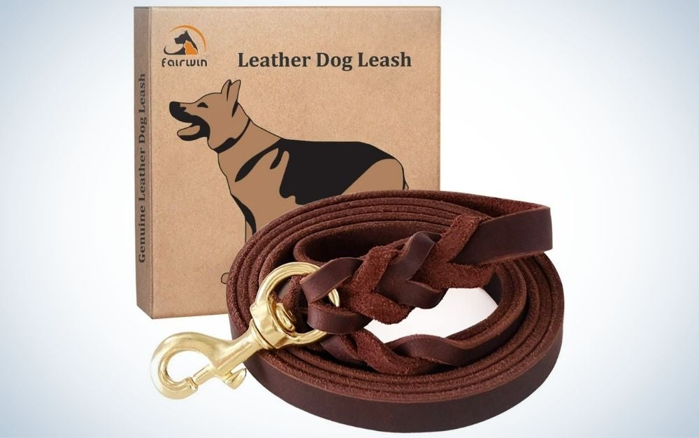 Braided, brown leather dog leash and the packing box