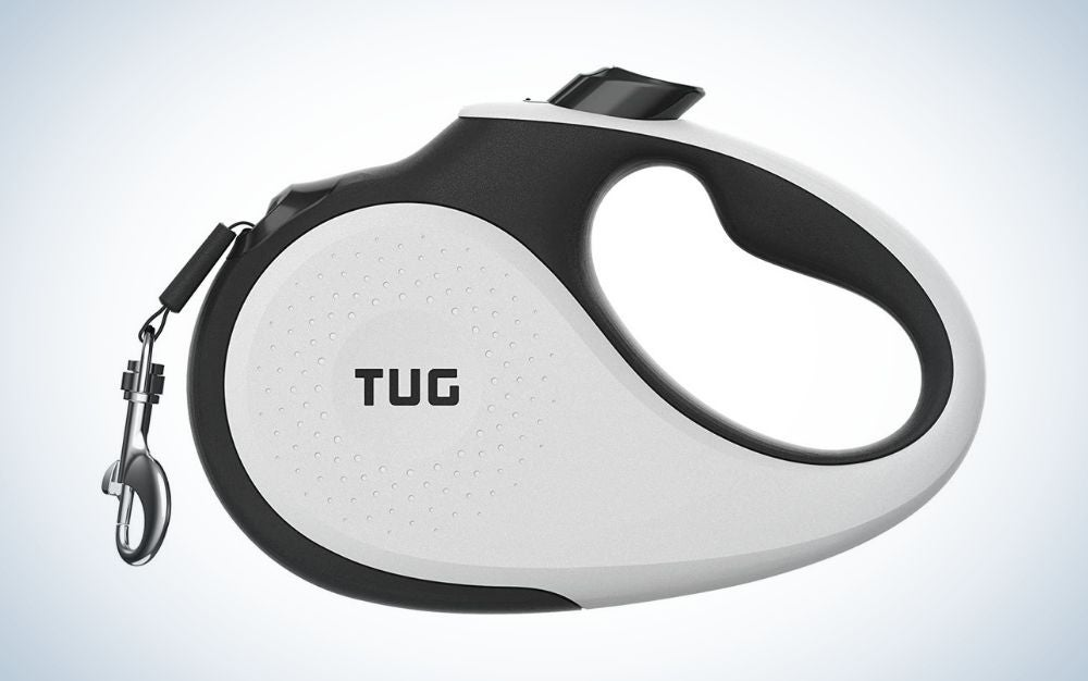 White and black retractable dog leash with anti-slip handle