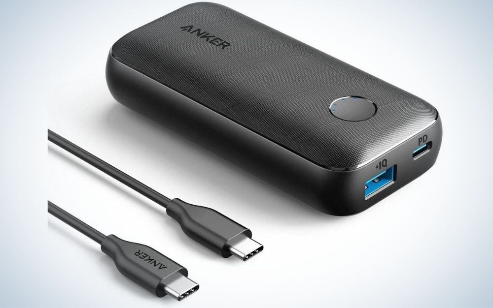 A small box which is a portable charger with a blue empty space in the end of it, and two other black plugs.