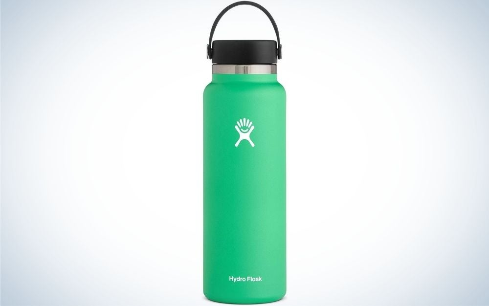 A light blue color water bottle with a black lid.