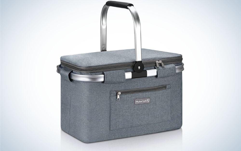 Grey, foldable picnic basket with handle