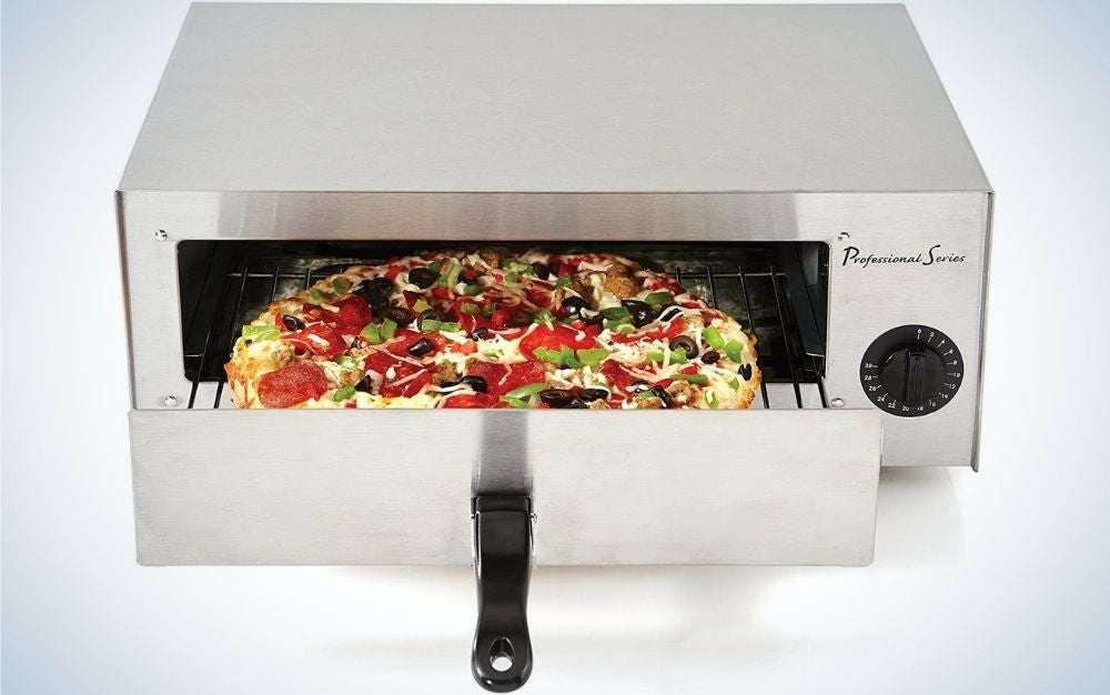 A copper and oven for silver pizza and rectangular shape and inside it with a grill in which there is a pizza.