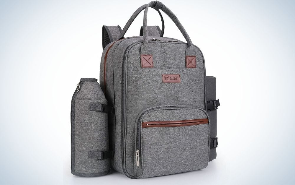 Grey picnic backpack with detachable bottle or wine holder