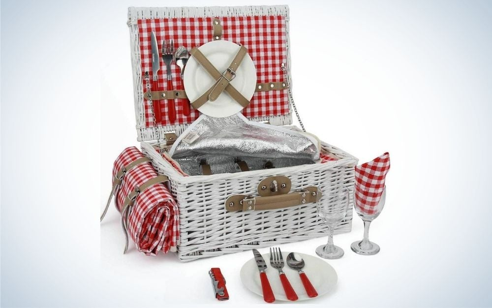 Red and white picnic basket set with picnic blanket and cutlery service kit